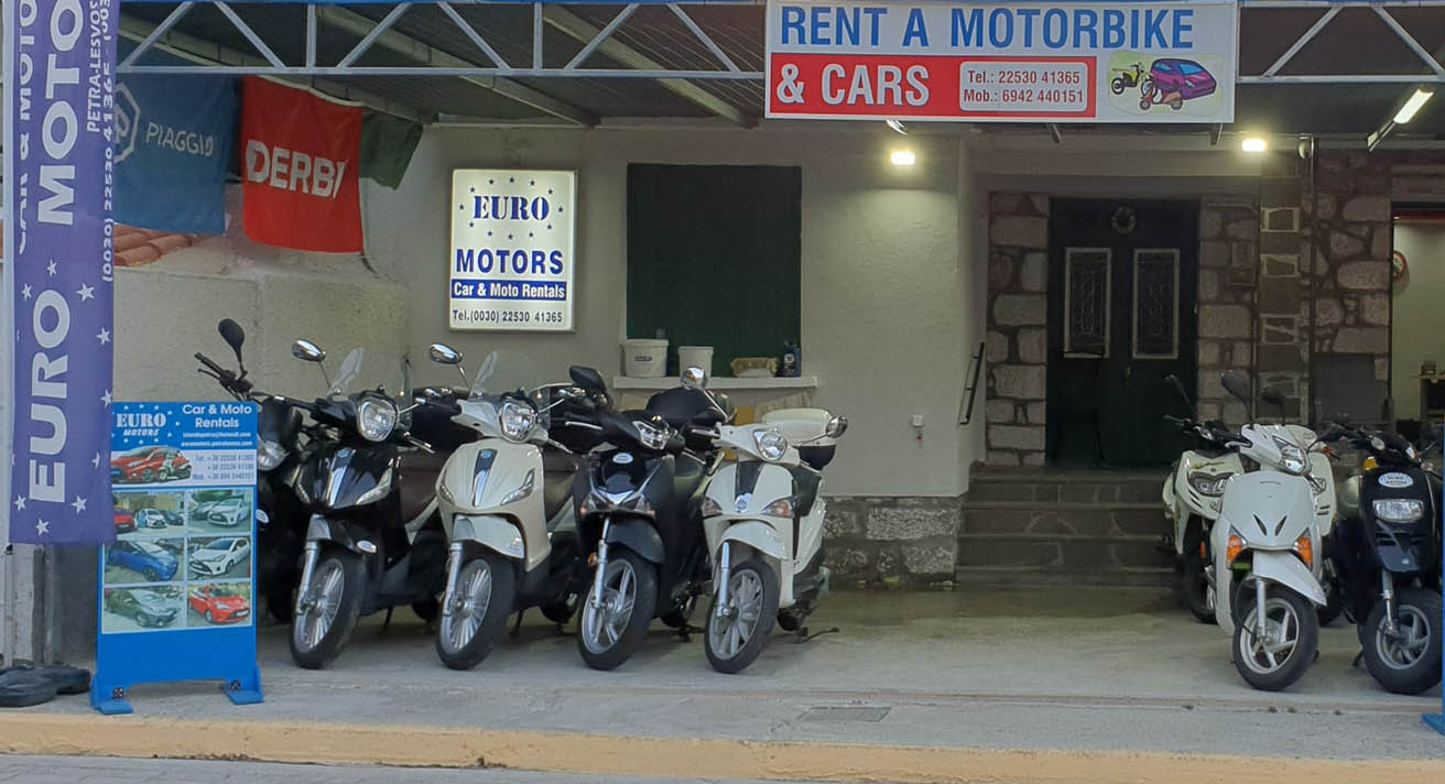 Rent A Car Motorcycle On Lesvos Island Euro Motors Petra Lesbos